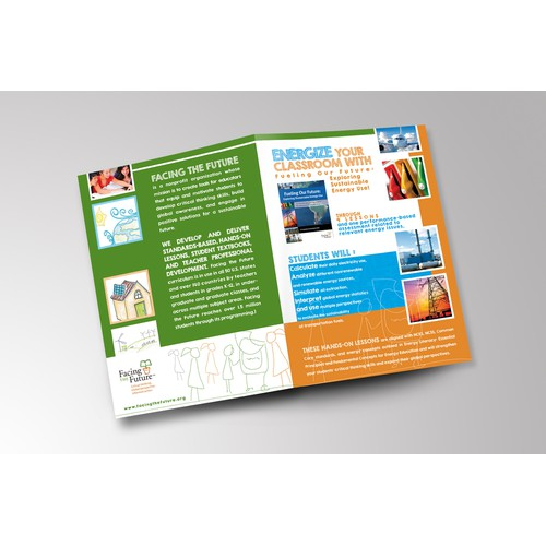 Create a brochure for nonprofit Facing the Future about sustainable energy educational resources