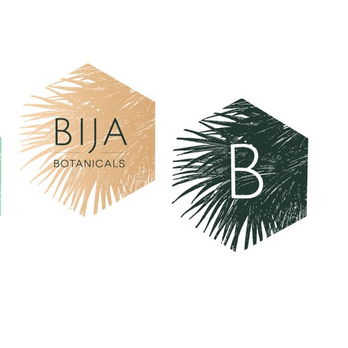 Geometric meets natural, tropical botanical logo for Bija Botanicals