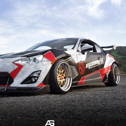 Drift car livery design for Manny's performance shop