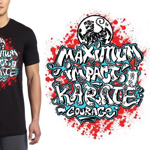 Graffiti T-Shirt Design for Karate School