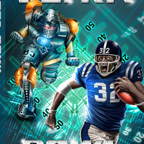 Create a book cover for a time-travel story about football and robots