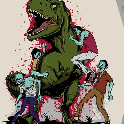 Dinosaur versus zombies! Who will win?!
