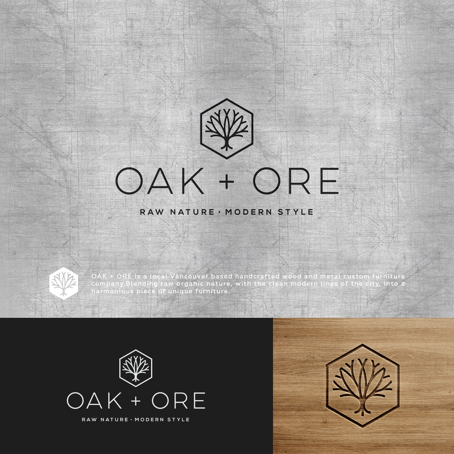 Design a modern logo for hand crafted wood and metal furniture company