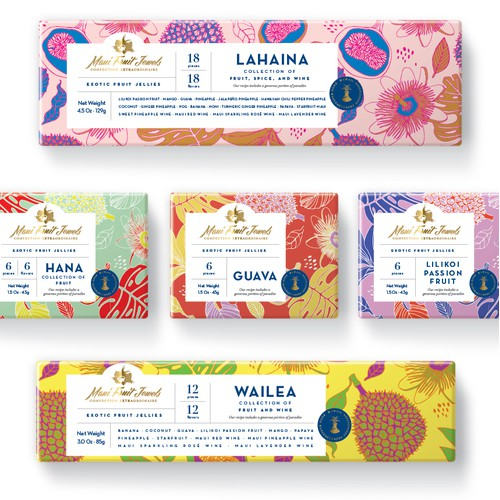 Packaging design for exotic fruit jellies from Hawaii