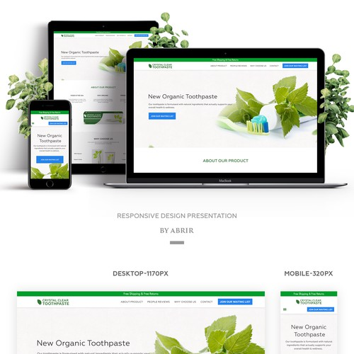 Clean Design concept for Organic toothpaste company