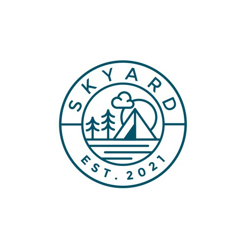 Hipster logo for selling camping gear for people who love nature and themselves