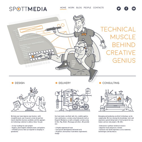 Fun illustrated graphics to convey tech company tagline