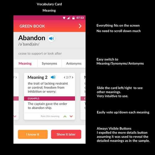 A word card page redesign - English learning app for Android