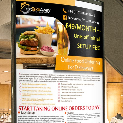 flyer for onlne food ordering for takeways