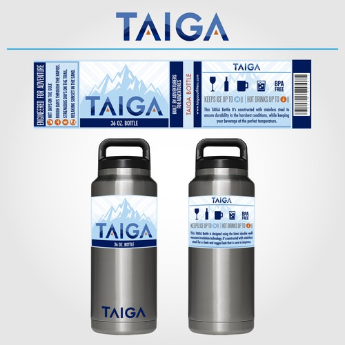 Label design for a container bottle for outdoor activities