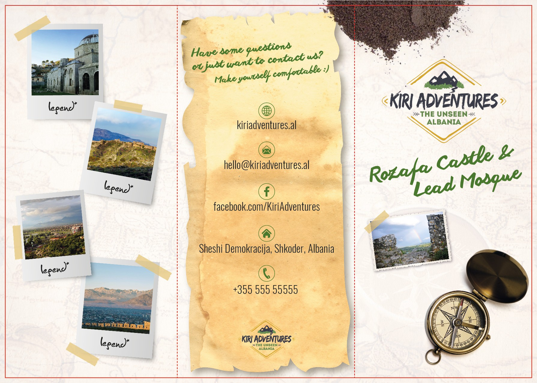 Create a brochure advertising activities for a tourist social enterprise