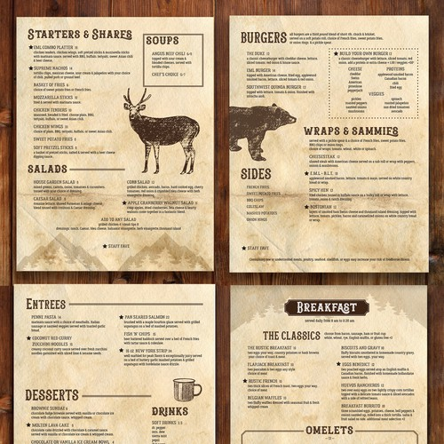 Rustic Lodge Restaurant Menu