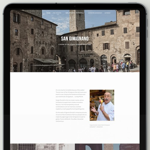 Authentic website for famous Italian gelateria