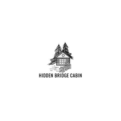 Create a logo for a cabin surrounded by pine trees under beautiful skies