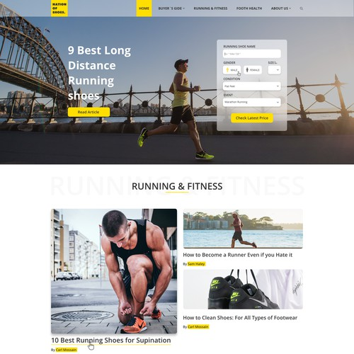 Homepage for Shoe Review Website