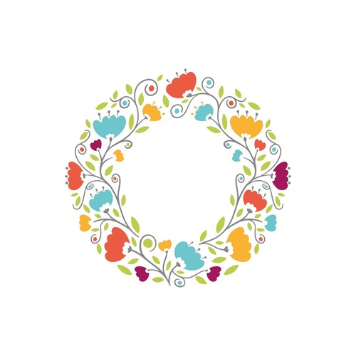 Illustrated Floral Letter/ Circle