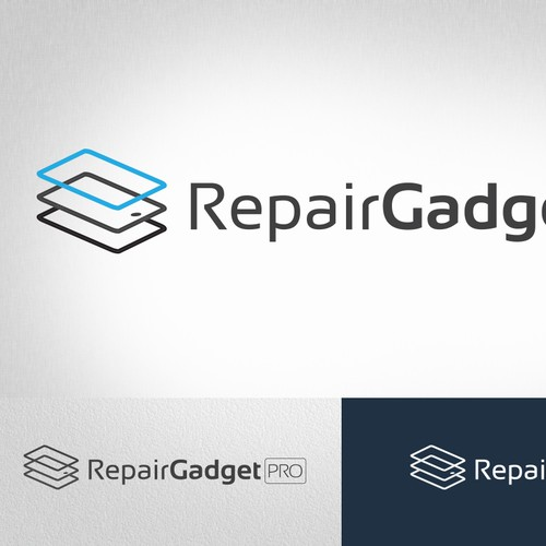 "Logo for ""Gadget Repair Pro"" a company that fixes cell phones, tablets, comps. Each word should be roughly equal."