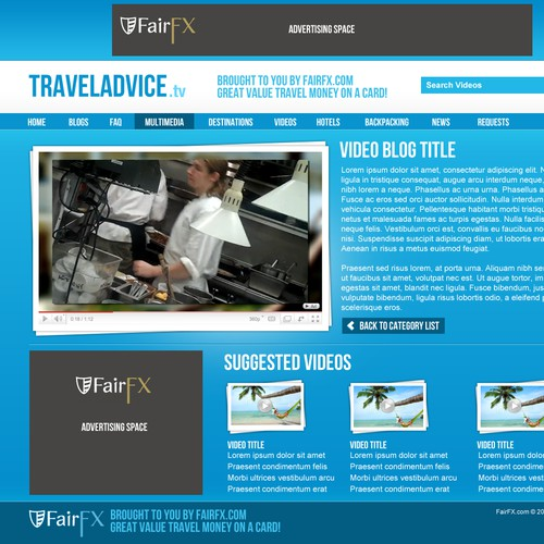 Dynamic Travel Advice Video Blog Design Required