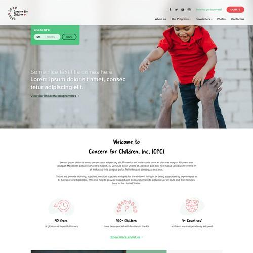 Homepage design for a non-profit organization