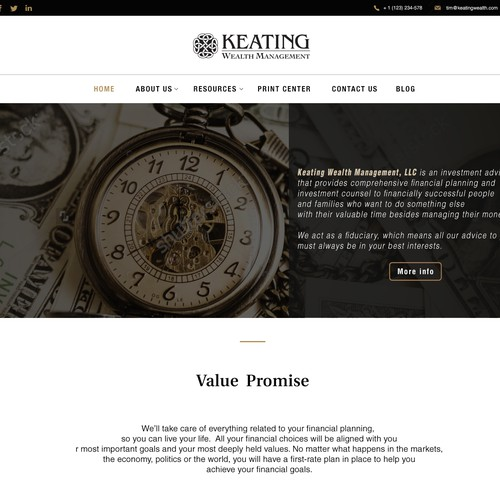 website design for keating wealth managment