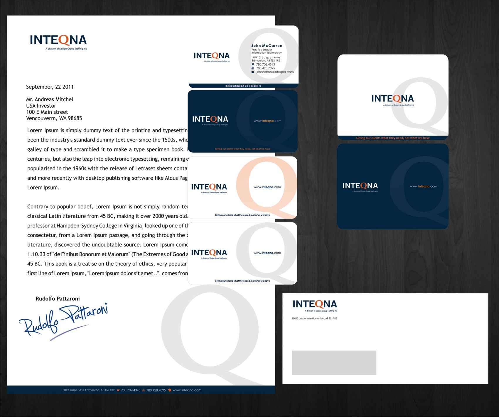 Help INTEQNA with a new stationery