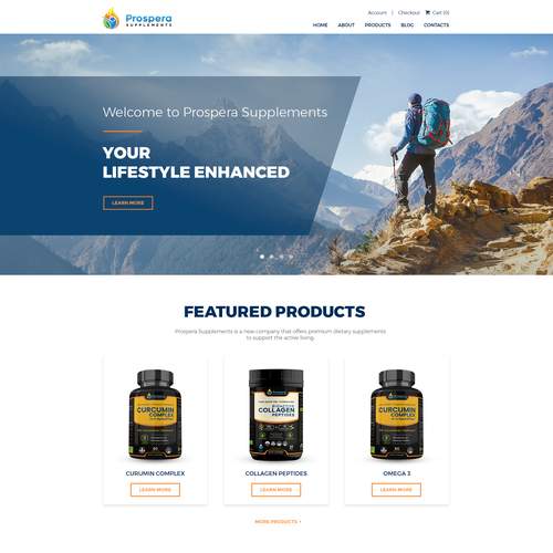 Website Design for a Supplements' company focused on athletic lifestyle