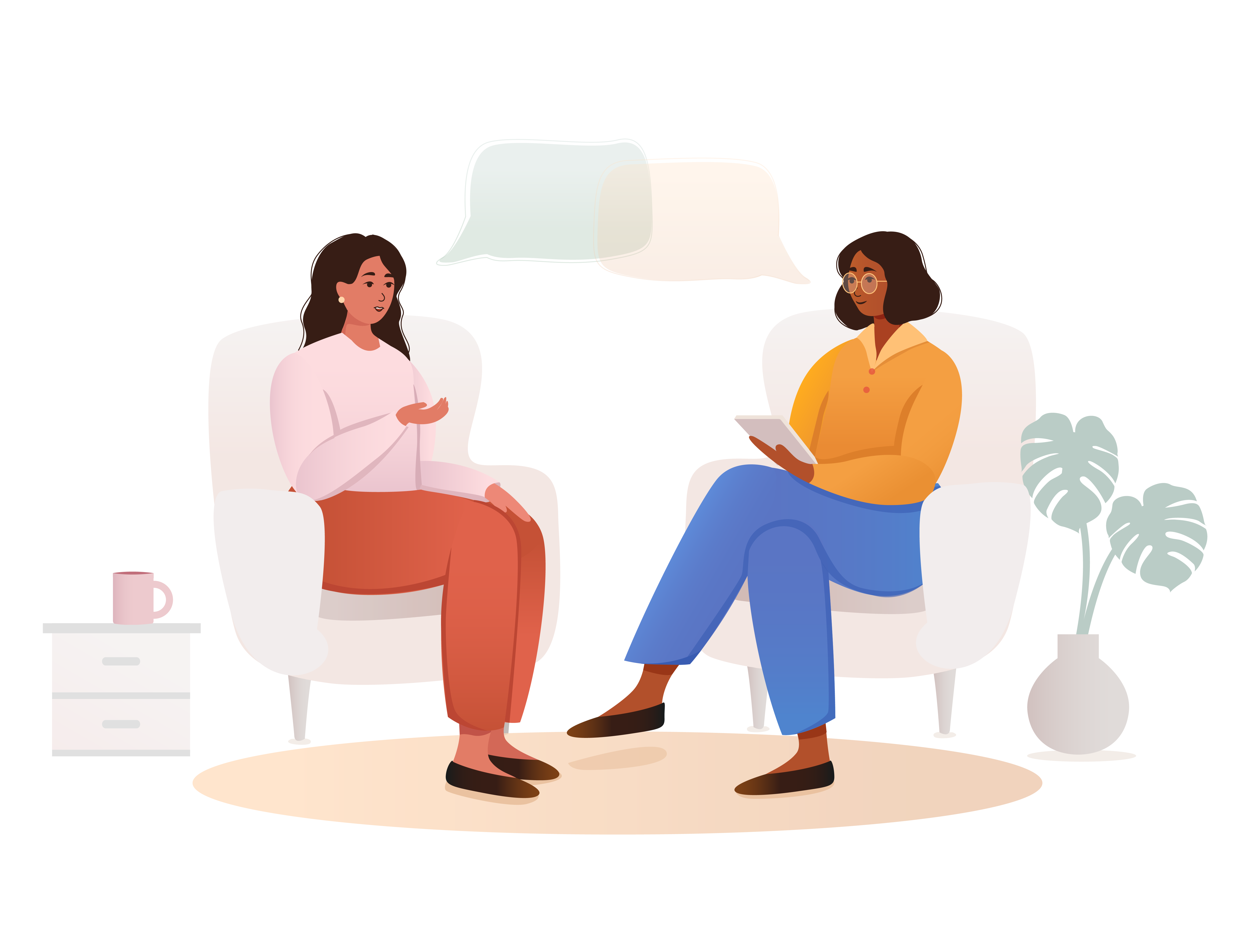 Revised: Many Illustrations for psychologist group practice website w comfortable feel