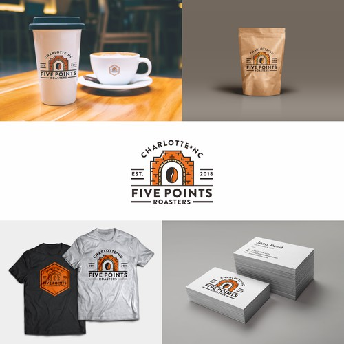 Logo Design for Five Points Roasters