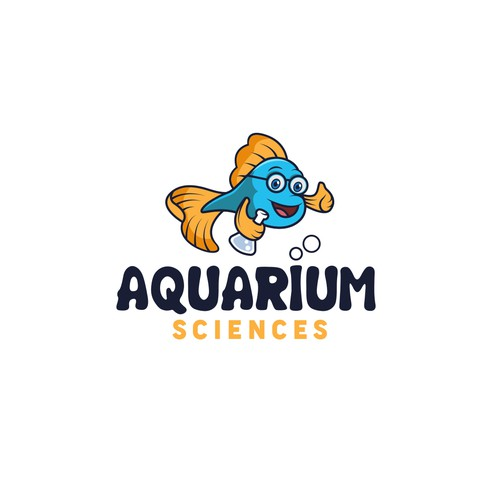 Aquarium science cartoony logo