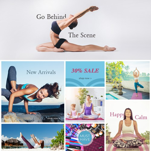Home page design for Copenhagen based online yoga shop