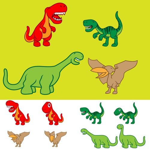 Cute/Kawaii Dinosaurs for kids book Illustration
