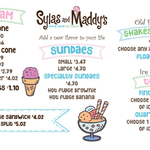 Ice Cream Menu Screen