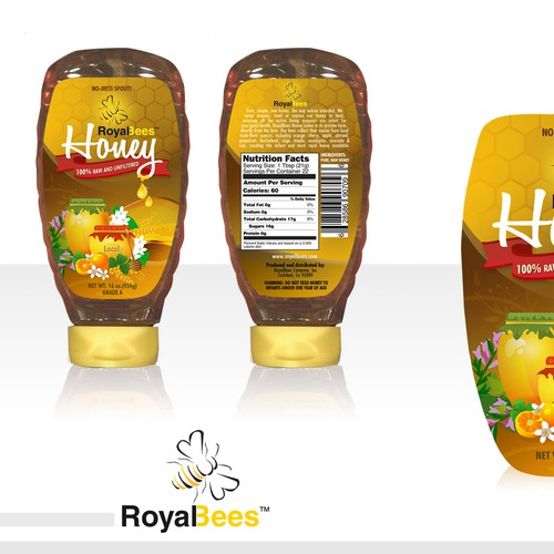 Honey label (front & back) for Royal Bees Company, Inc