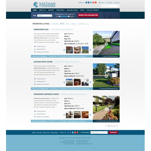 Listing page layout for Real Estate company