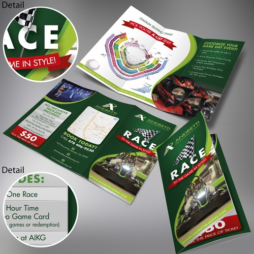 Andretti Indoor Karting & Games RACE tri-fold brochure