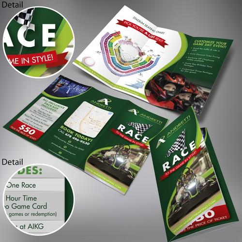 Andretti Indoor Karting & Games RACE tri-fold brochure