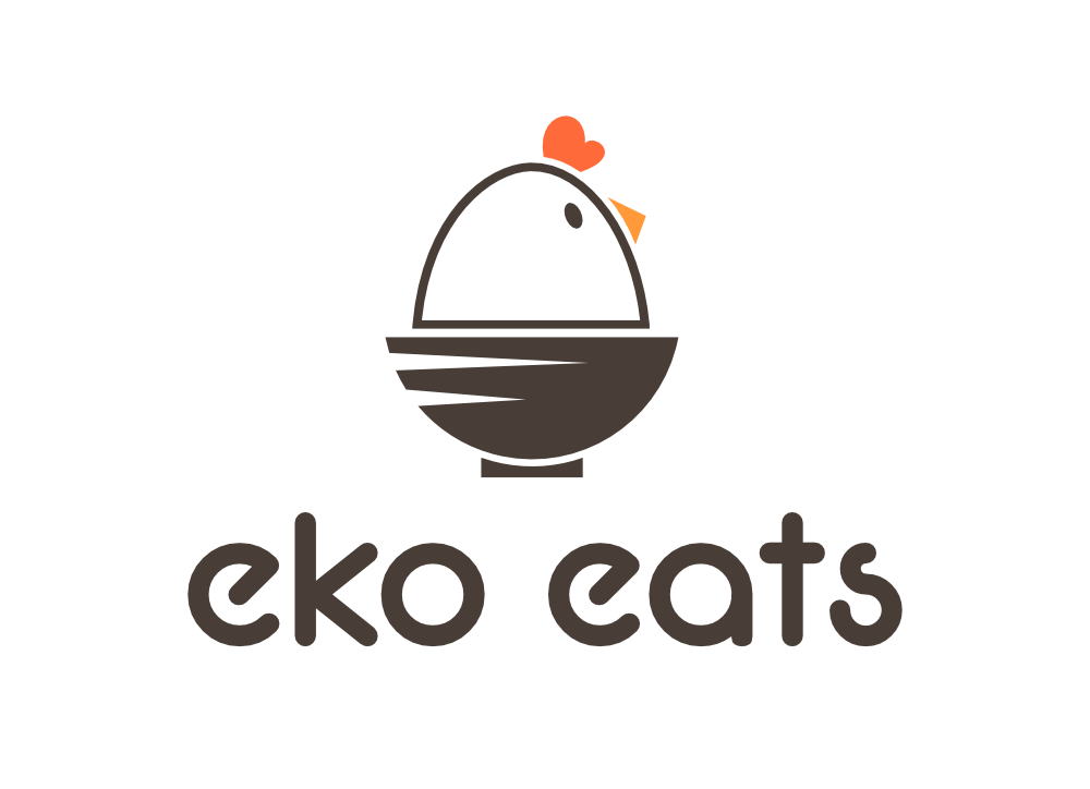 Design a cute, modern logo for eko eats, a Korean fried chicken & bibimbap concept in LA