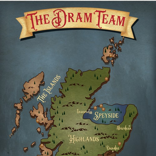 Custom map of Scottish distilleries