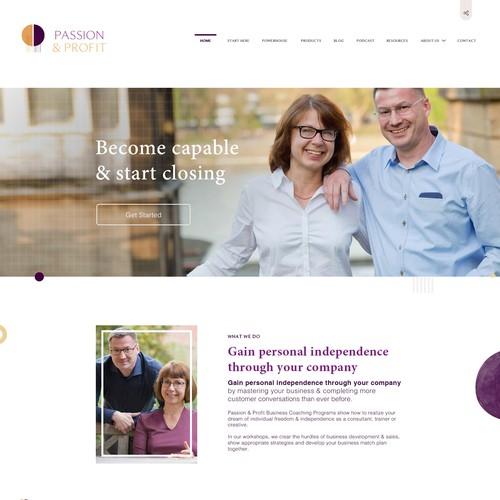 Web Design for Course Wesbsite - Passion & Profit