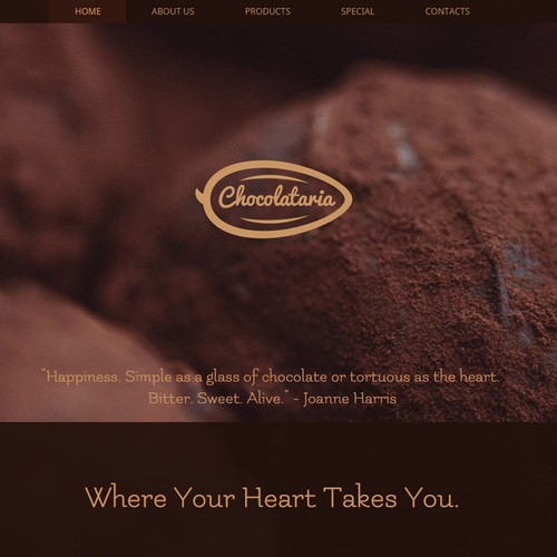 Logo and website design for a chocolate manufacturer.