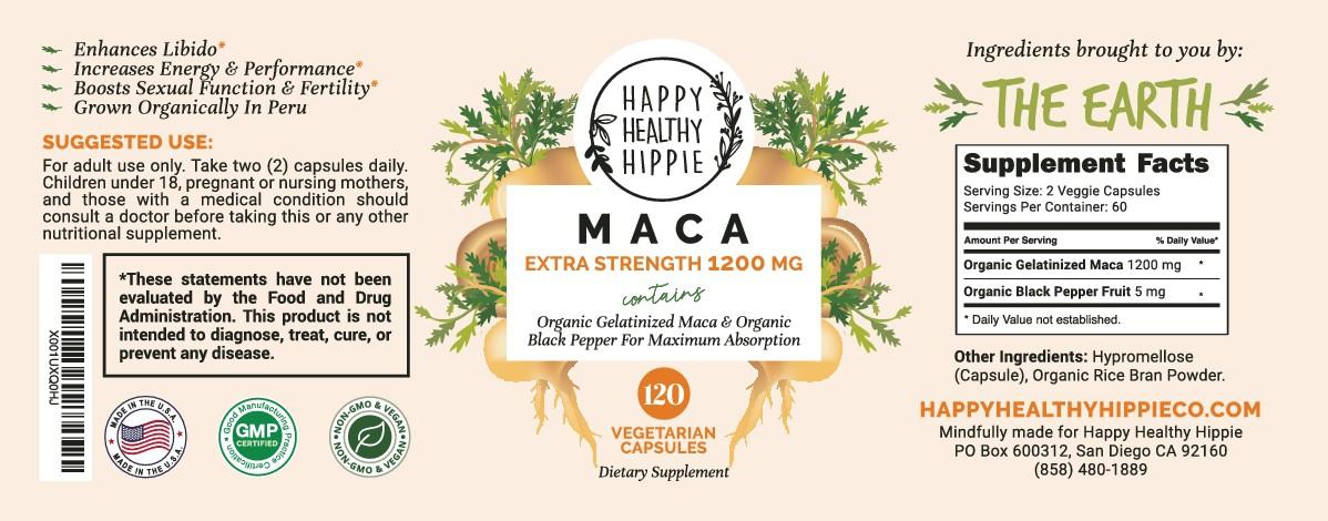 Maca Supplement Label