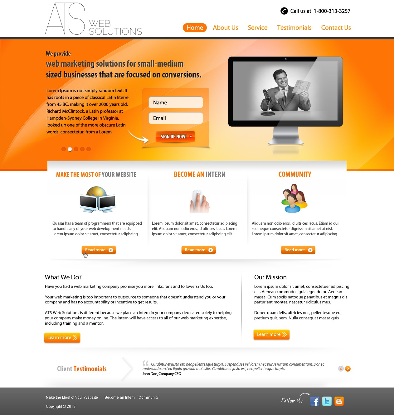 ATS Web Solutions needs a new website design