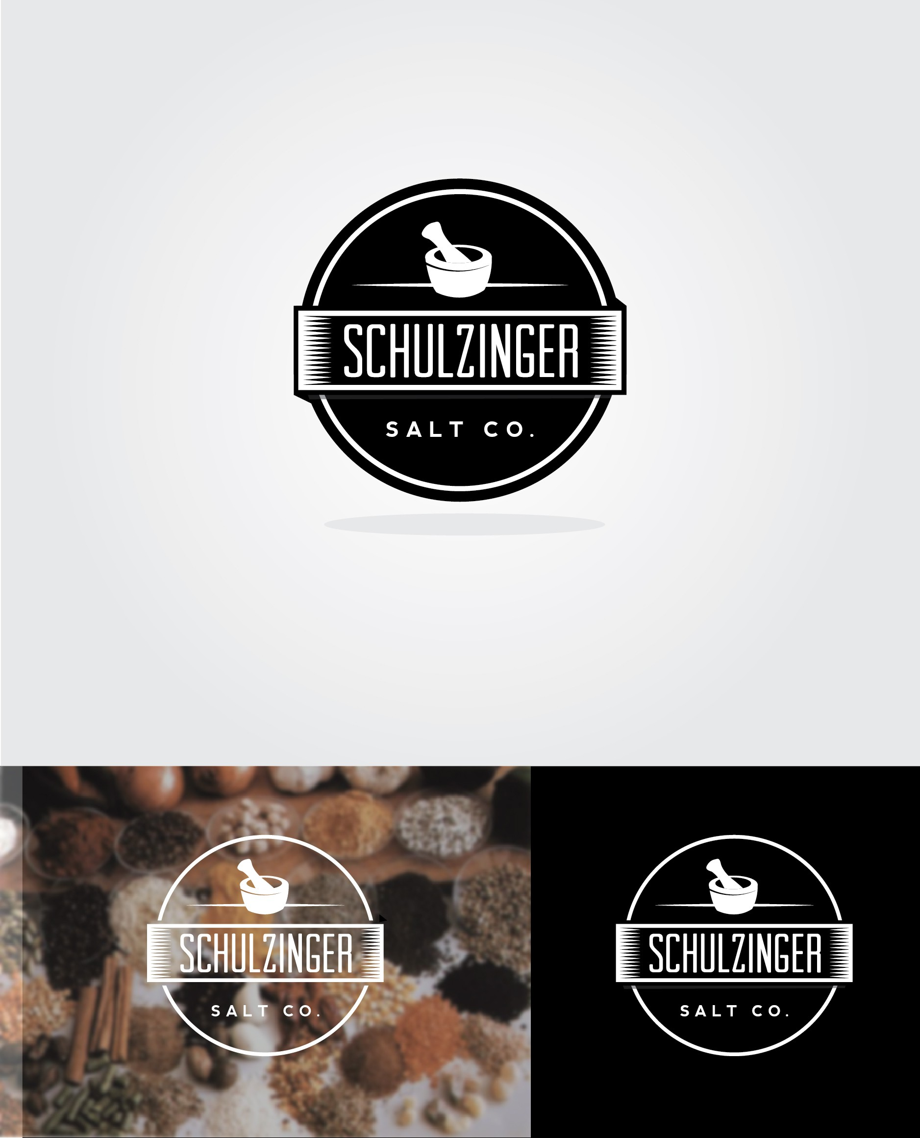 """Logo for the """"Schulzinger Salt Co"""" -- an artisan spice and smoked salt company"""