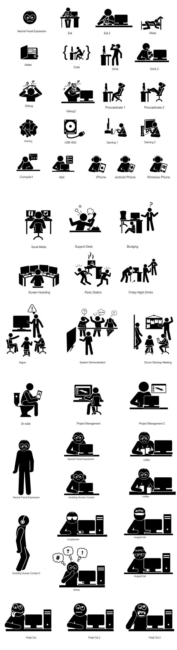 Set of Pictograms and Header image for { nerdWear; } website