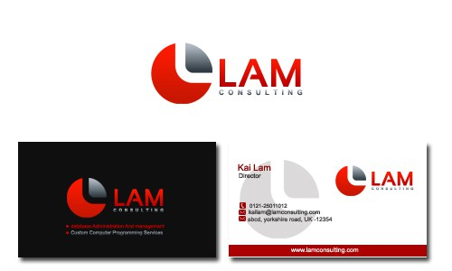 logo and business card for Lam Consulting