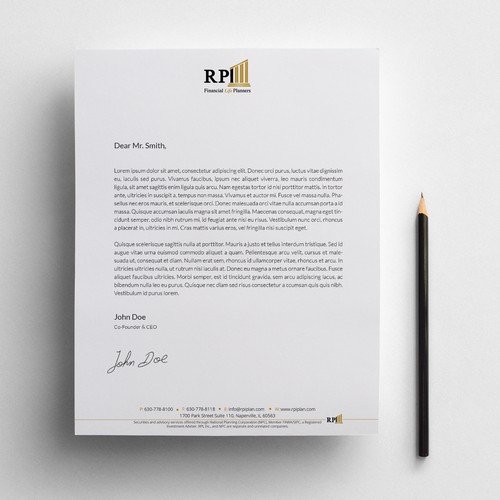 Stationary design - letterhead - for a Financial Firm