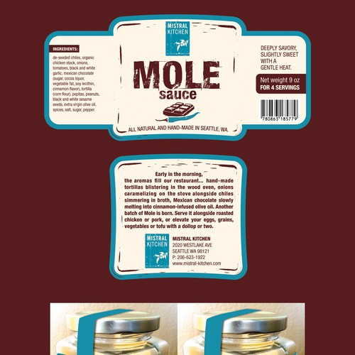 Product label needed for Mistral Kitchen's Mole sauce