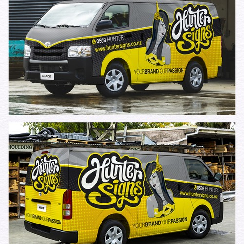 New Zeland Van wrap and create illustration pin-up