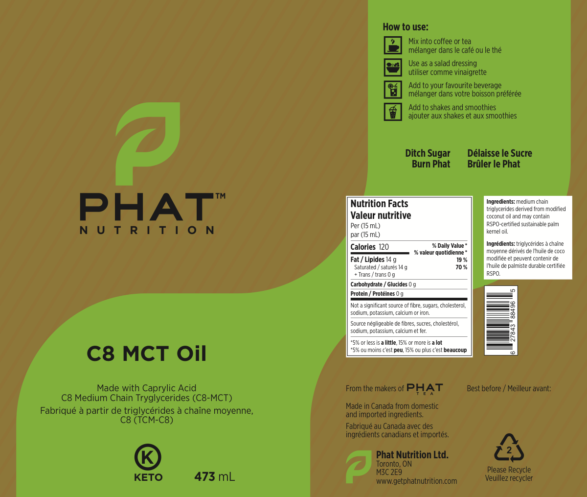Label for an MCT Oil  supplement product
