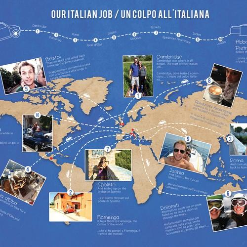 World Map Illustration for an Italian/English wedding!